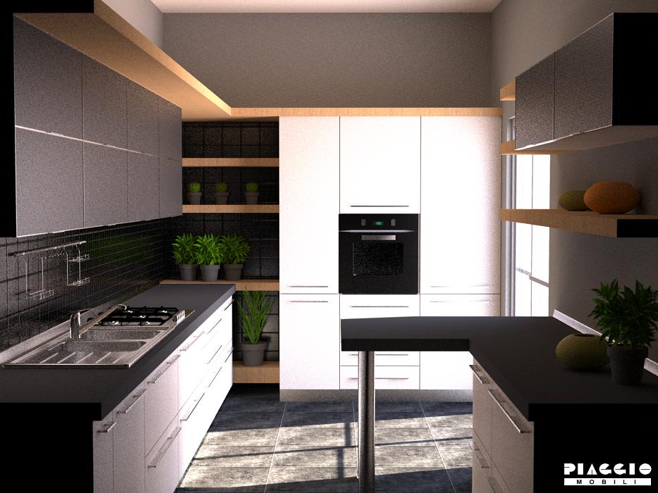 Cucina angolo con piccola penisola arredo casa fvg - Cucine moderne piccole ad angolo ...
