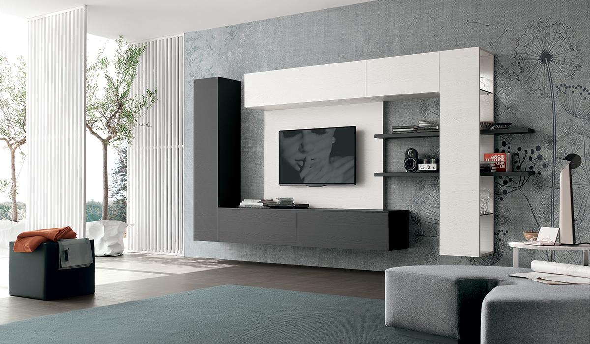 Parete attrezzata moderna atlante a019 arredo casa fvg for Parete sala