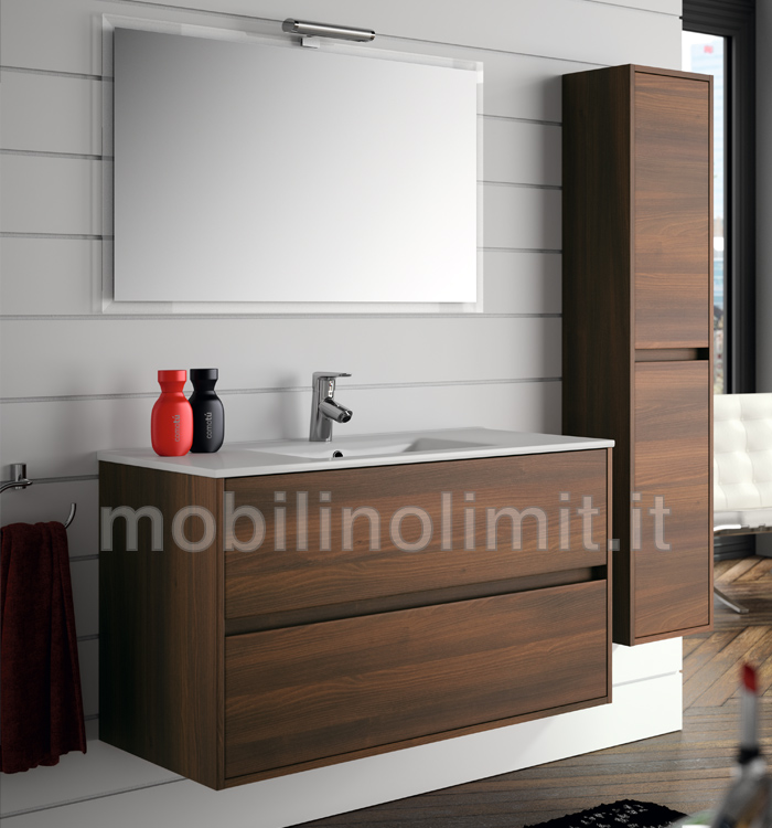 Mobile Bagno Moderno Con Lavabo Acacia Marrone