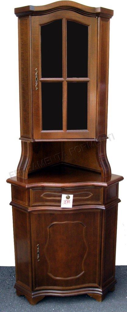 Mobile angolare in legno con vetrinetta modello apicella for Mobile basso angolare