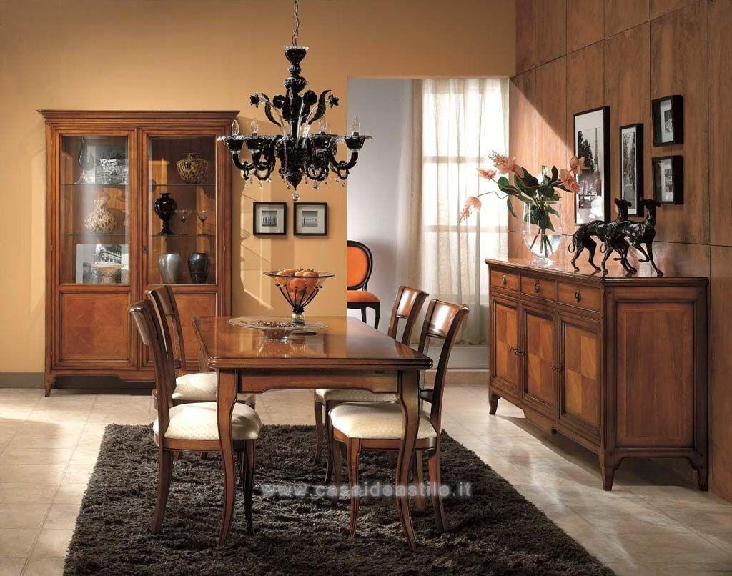 Sala da pranzo classica finitura ciliegio modello tarondo for Arredare sala da pranzo classica