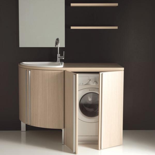 Mobile lavanderia con vasca lavapanni base angolare e base - Mobile bagno con portalavatrice ...