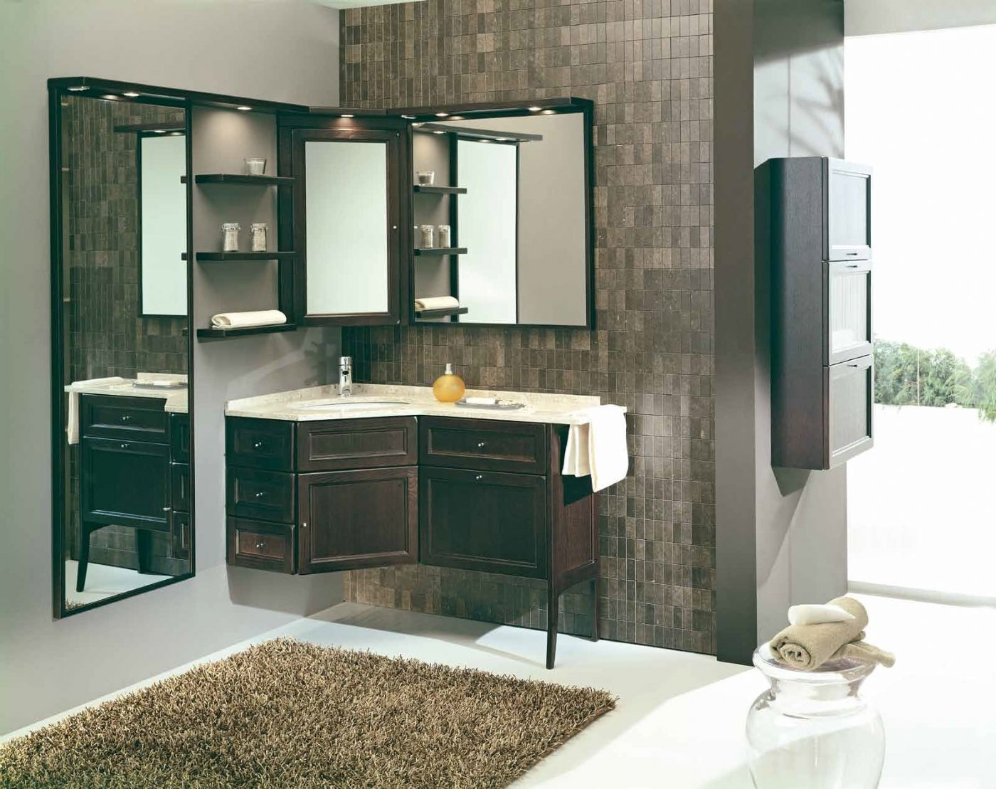 mobile bagno angolare rovere moro modello forgiarini - arredo casa fvg - Arredo Bagno Angolare