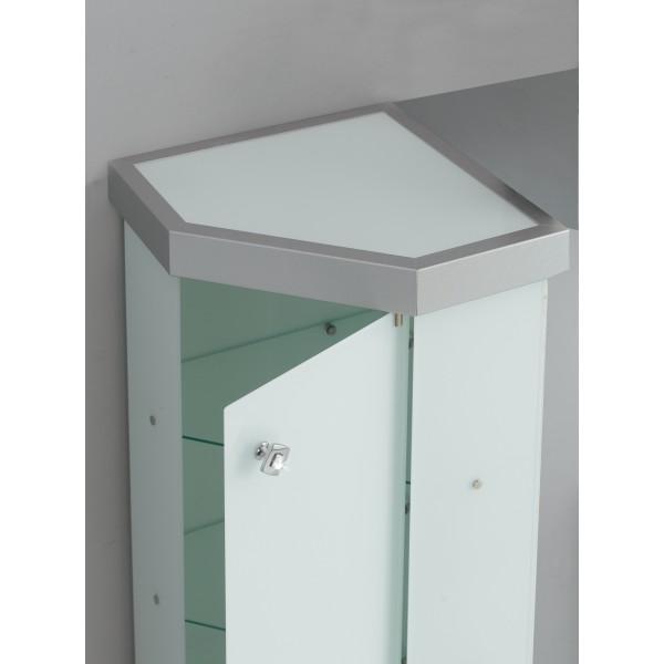 Vetrina angolare per arredo bagno in cristallo temp for Mobile angolare